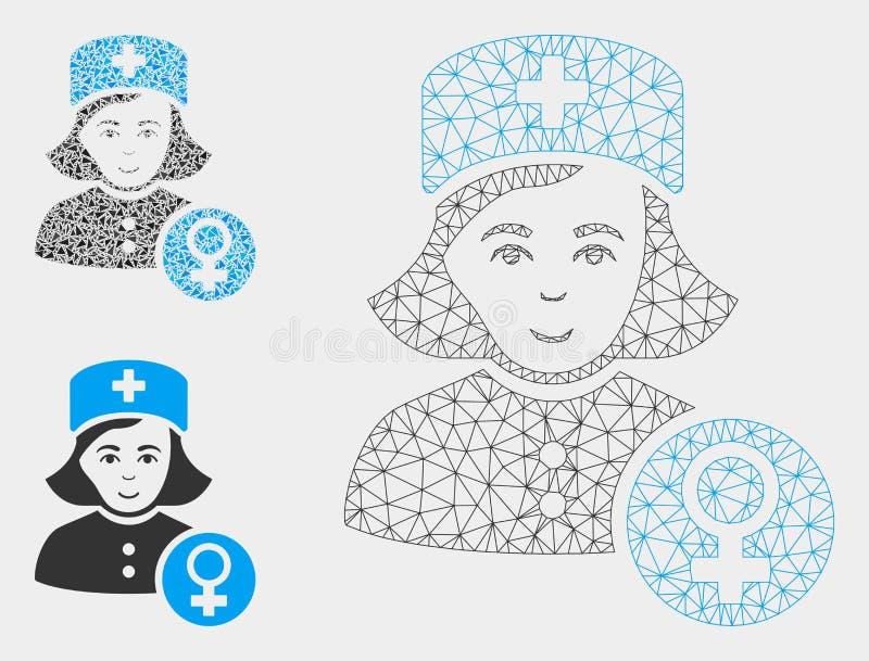 Señora Doctor Vector Mesh Wire Frame Model del ginecólogo e icono del mosaico del triángulo stock de ilustración