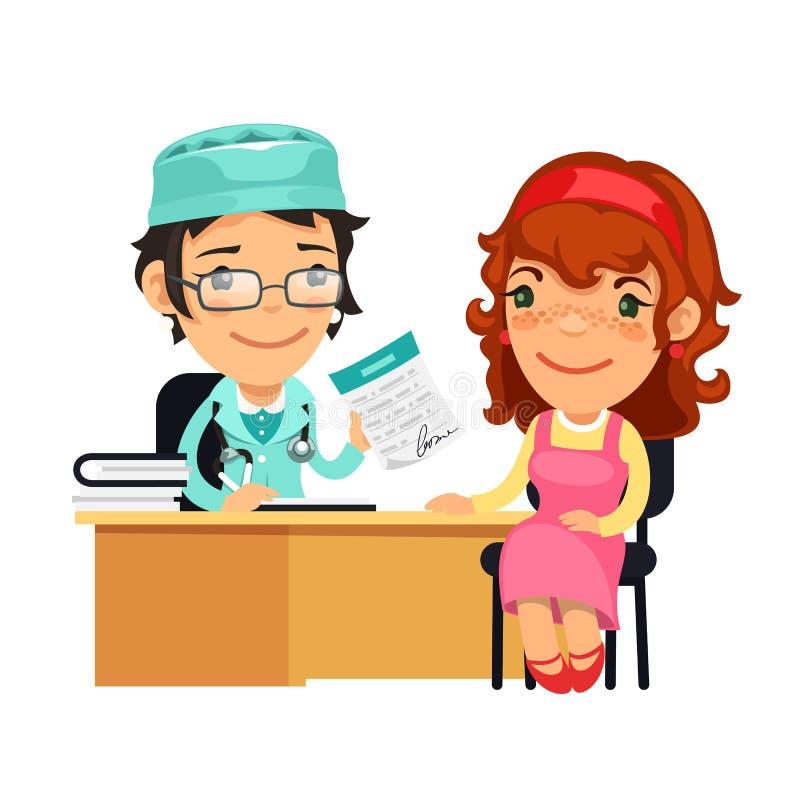 Señora el doctor Giving una prescripción a su hembra ilustración del vector