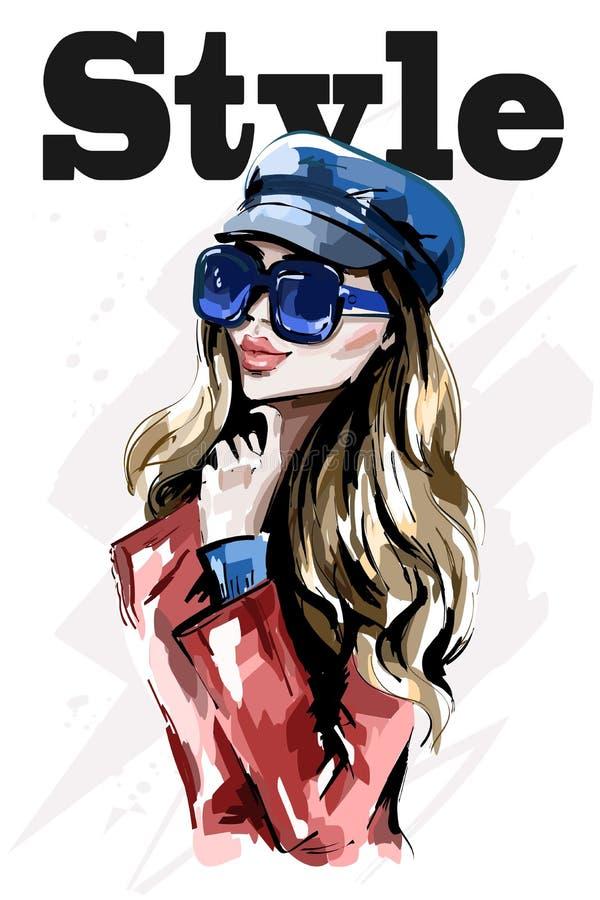 Señora elegante en casquillo Mujer joven hermosa dibujada mano en gafas de sol Mujer del pelo rubio de la moda stock de ilustración