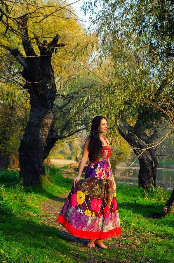Señora elegante que se coloca en el bosque imagen de archivo libre de regalías