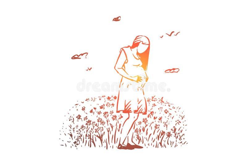Se?ora embarazada feliz que aguarda al beb?, felicidad femenina, embarazo, madre que cuenta con al ni?o, nueva vida ilustración del vector
