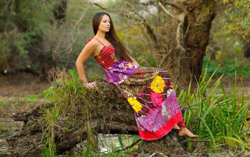 Señora en el vestido largo que se sienta en el tronco de árbol imágenes de archivo libres de regalías