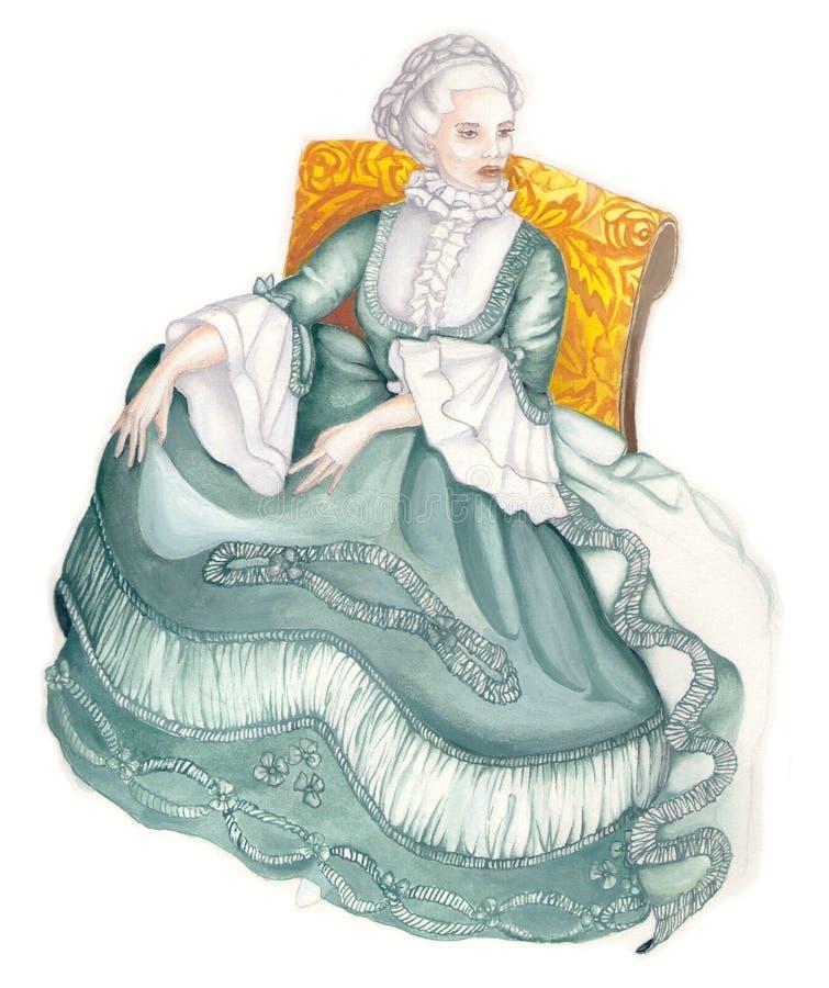 Señora en la alineada antigua 02 imágenes de archivo libres de regalías