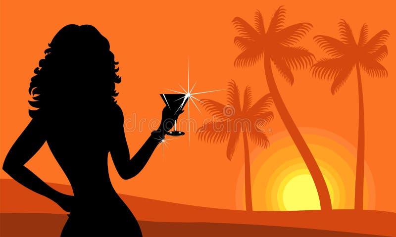 Señora en la playa libre illustration