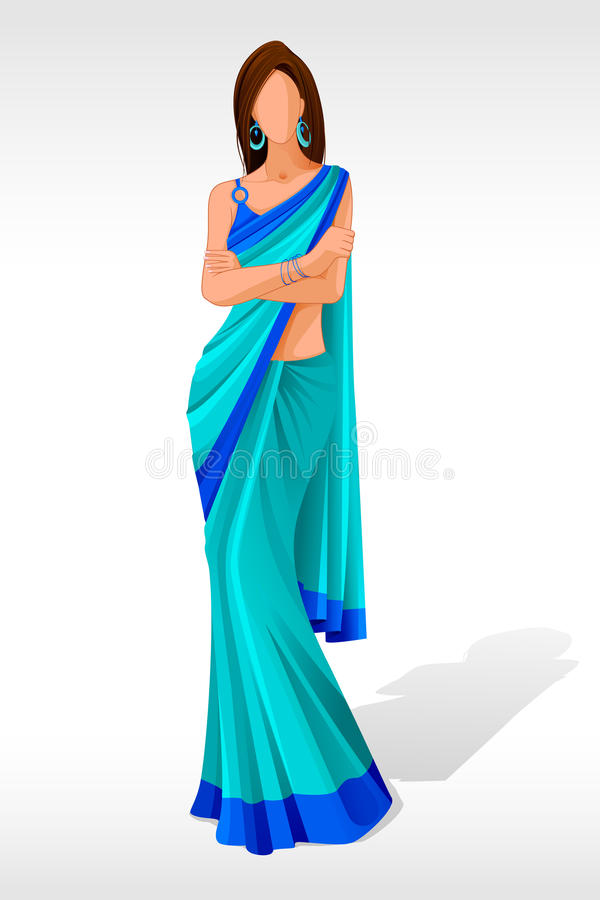 Señora en sari stock de ilustración