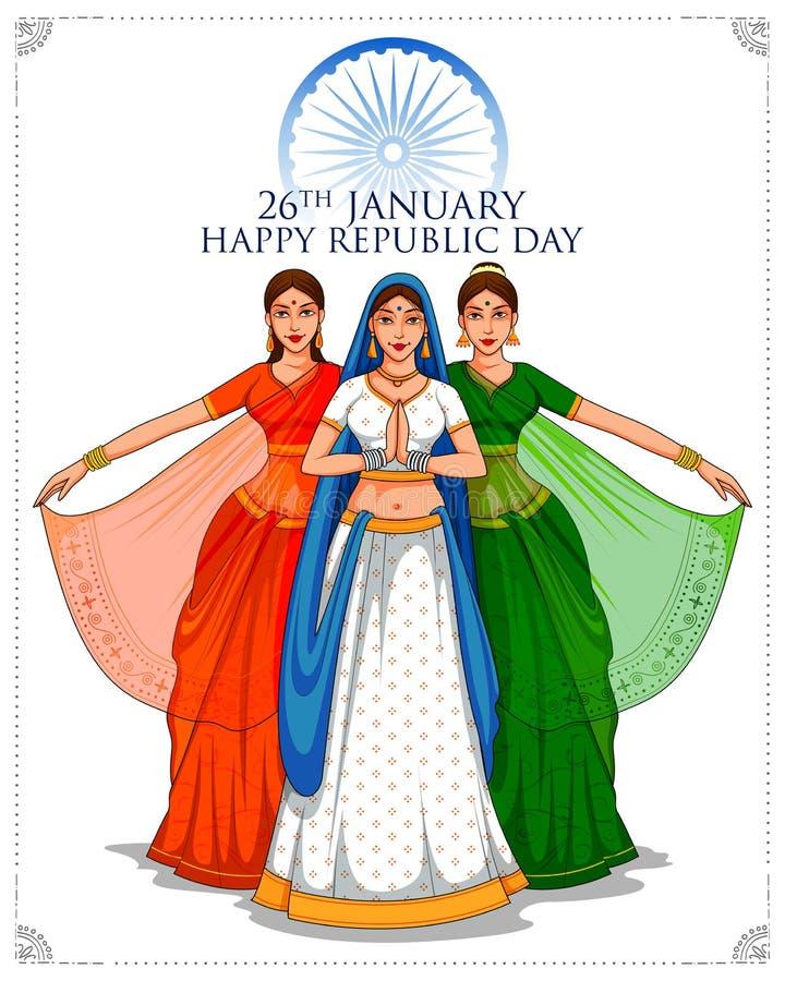 Señora en sari tricolora de la bandera india para el día feliz de la república del 26 de enero de la India libre illustration