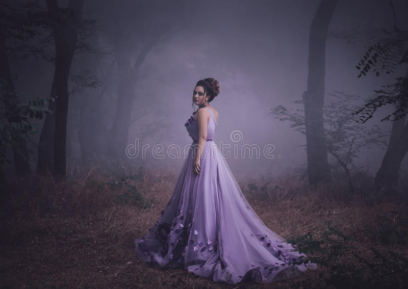 Señora en un vestido púrpura enorme de lujo fotos de archivo