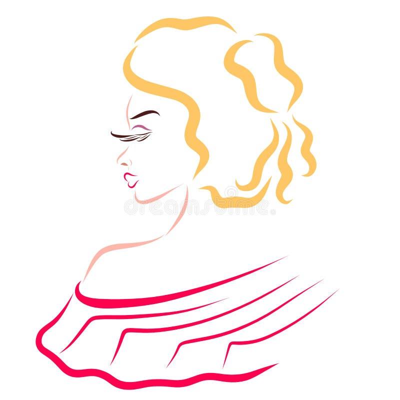 Señora encantadora con los hombros abiertos, el encanto y la aristocracia ilustración del vector