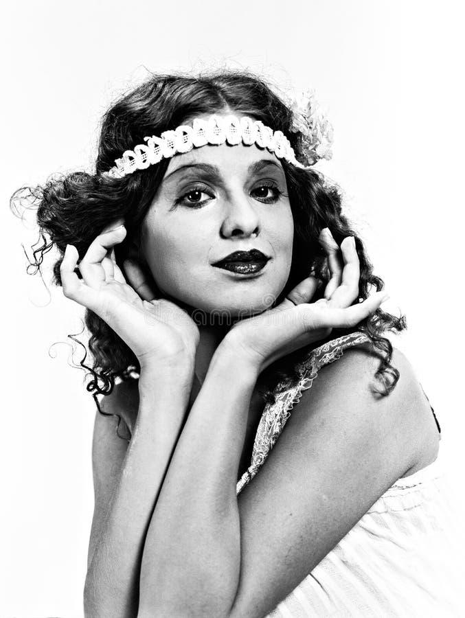 Señora exquisita, retrato retro en el black&white (2) fotos de archivo libres de regalías