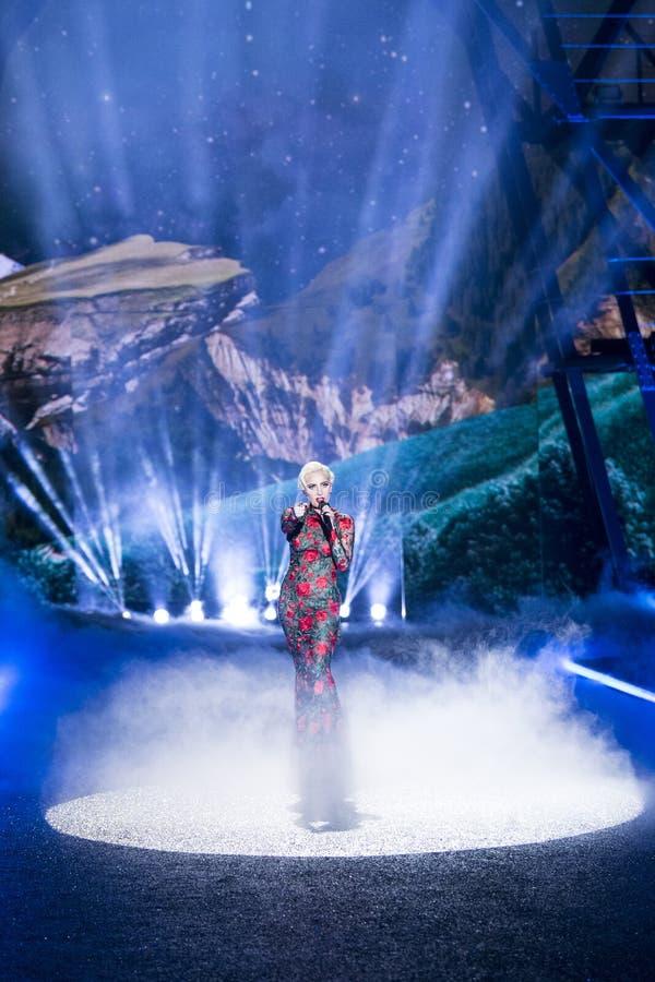 Señora Gaga se realiza durante el desfile de moda del secreto del ` s de Victoria foto de archivo