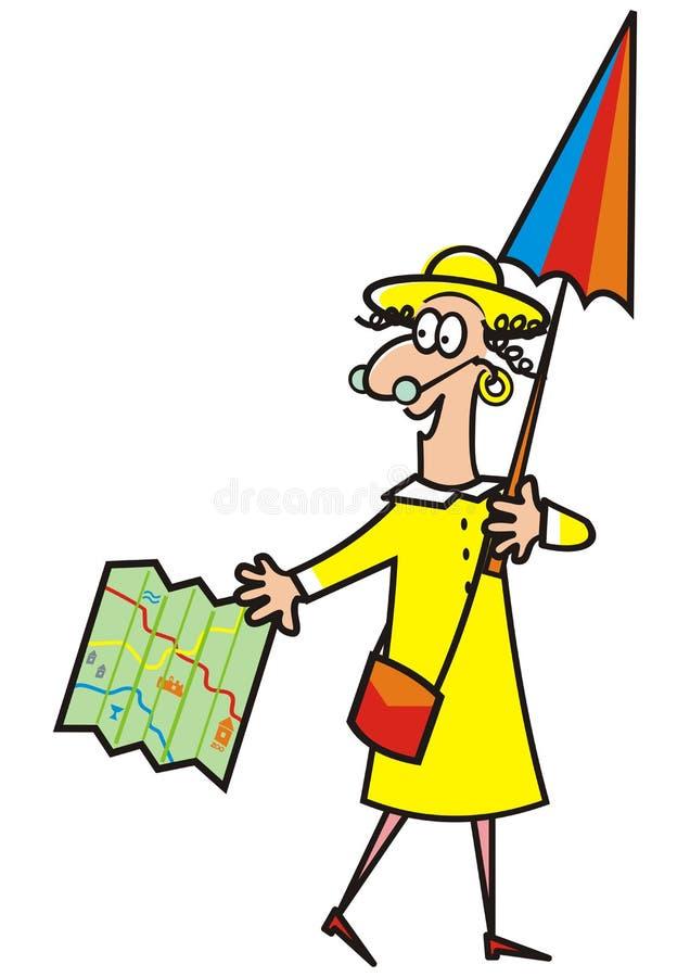 Señora, guía turística stock de ilustración