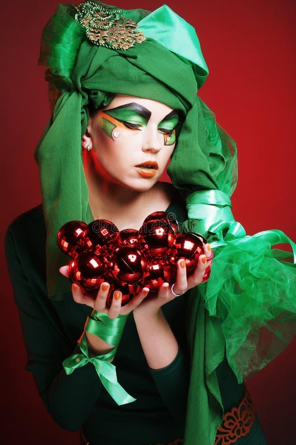 Señora hermosa con maquillaje artístico fotos de archivo libres de regalías