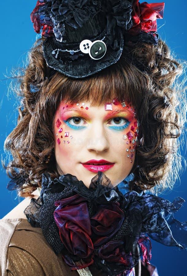 Señora hermosa con maquillaje artístico imagenes de archivo