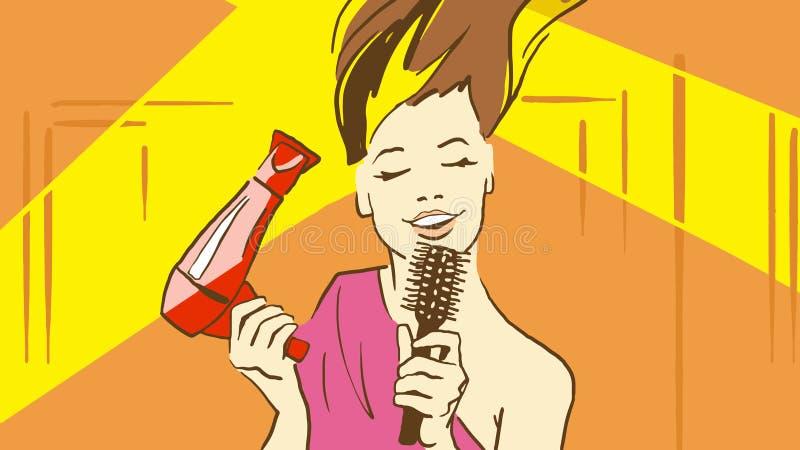 Señora hermosa Drying Her Hair de la historieta por la canción de Hairdryer y de Sinnging que sostiene un cepillo de pelo como el ilustración del vector