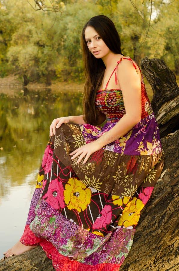 Señora hermosa en el vestido largo que se sienta en el árbol imagen de archivo libre de regalías