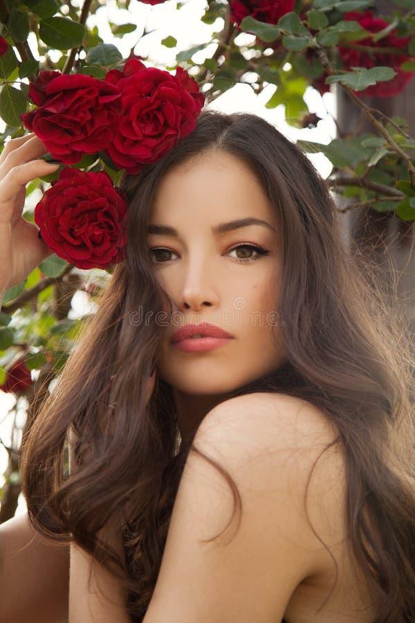 Señora hermosa en una rosaleda fotos de archivo libres de regalías
