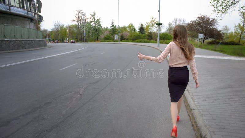 Señora hermosa joven del negocio que camina en el camino y que intenta enganchar un coche imagen de archivo