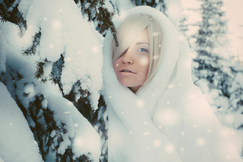 Señora hermosa joven en bosque del invierno imagen de archivo