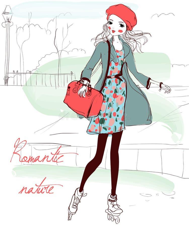Señora joven hermosa ilustración del vector