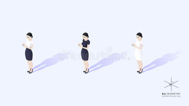 Señora joven hermosa del negocio que hace frente a la audiencia Ella sostiene el teléfono móvil ilustración del vector