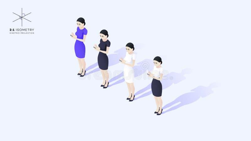 Señora joven hermosa del negocio que hace frente a la audiencia Ella sostiene el teléfono móvil libre illustration