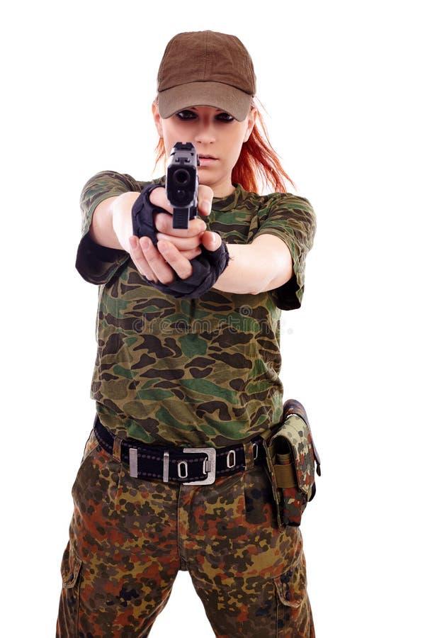 Señora joven hermosa del pelirrojo militar fotos de archivo libres de regalías