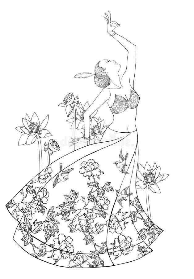 Señora joven oriental en actitud de la danza con el flowe del loto libre illustration