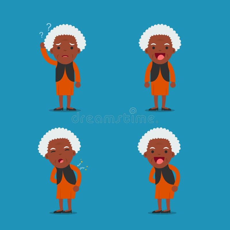 Señora mayor Abuela en 4 diversas actitudes libre illustration
