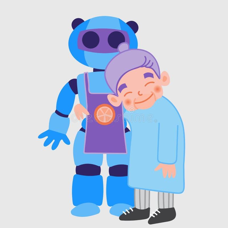 Señora mayor con el robot stock de ilustración