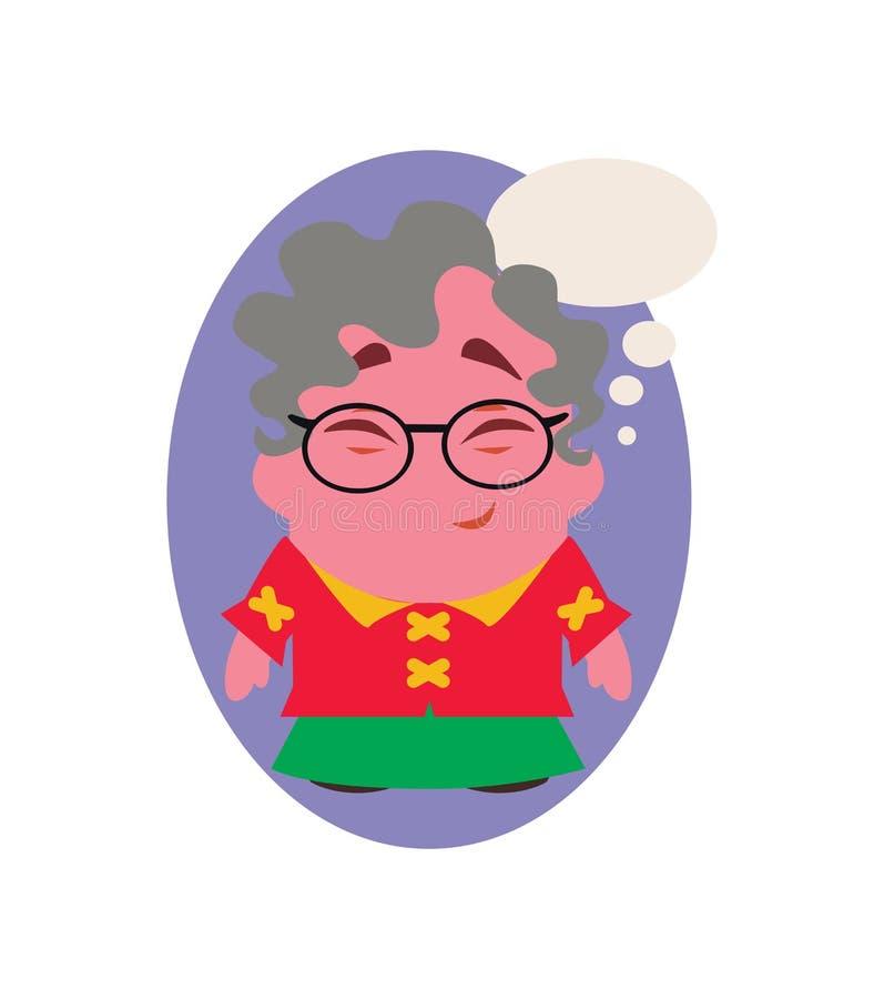 Señora mayor de risa y sonriente Funny Avatar de pequeño Person Cartoon Character en vector plano ilustración del vector
