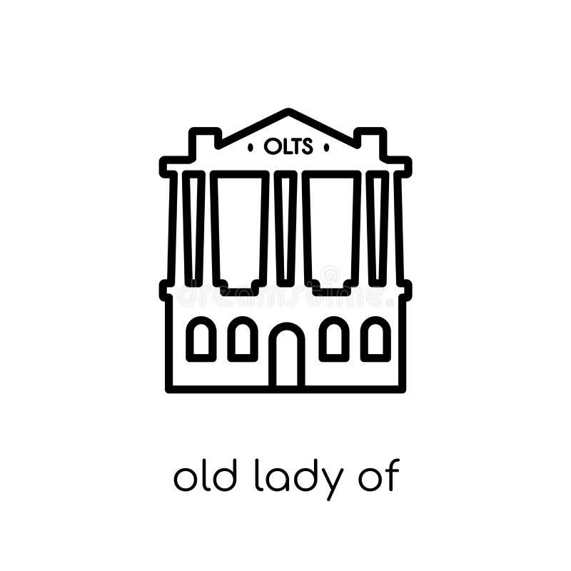 Señora mayor del icono de Threadneedle Street  stock de ilustración