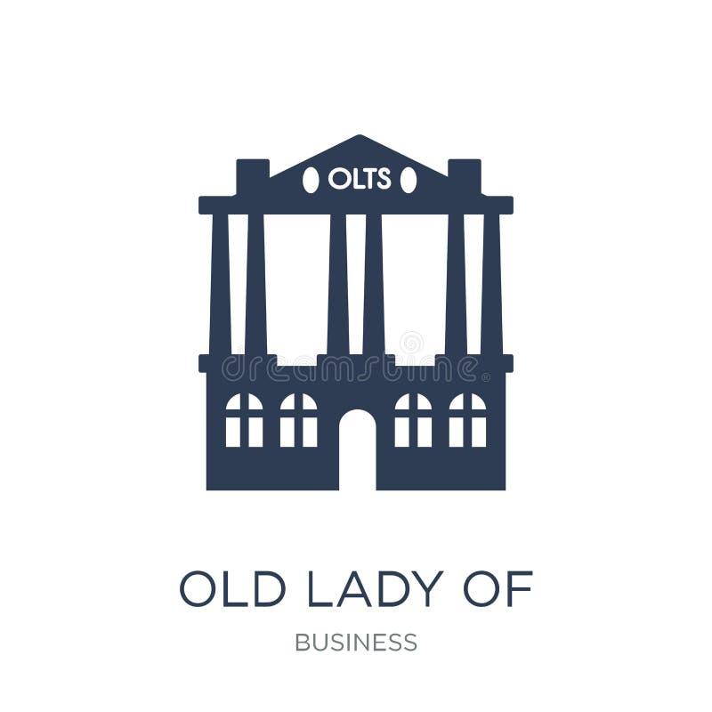 Señora mayor del icono de Threadneedle Street Viejo chaval del vector plano de moda stock de ilustración