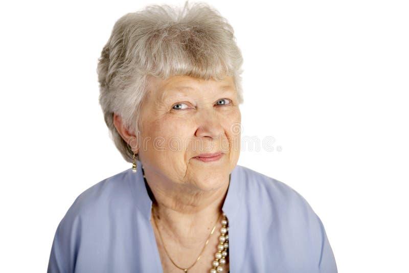 Señora mayor feliz imagen de archivo