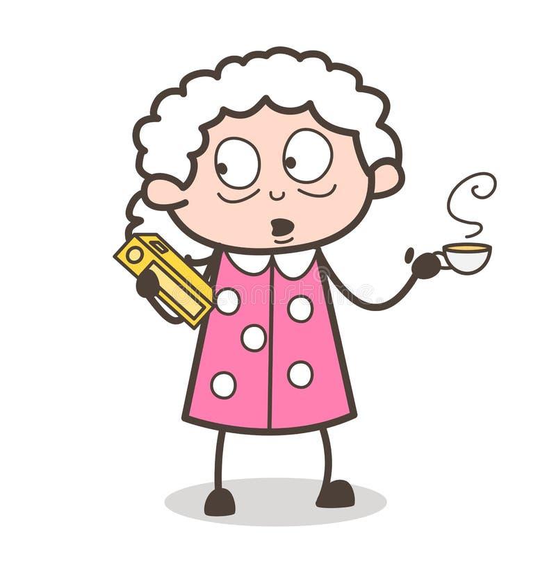 Señora mayor Holding de la historieta un libro y consumición de un ejemplo caliente del vector del café stock de ilustración