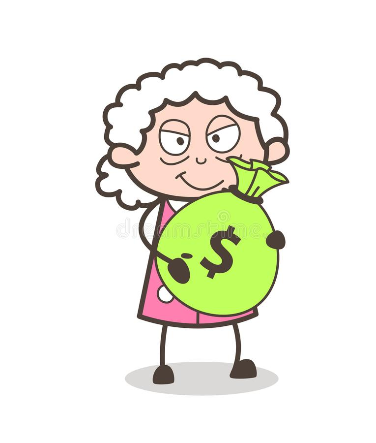 Señora mayor malvada Holding de la historieta un ejemplo del vector del bolso del dinero libre illustration