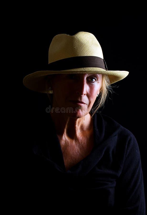 Señora mayor Pensive foto de archivo libre de regalías