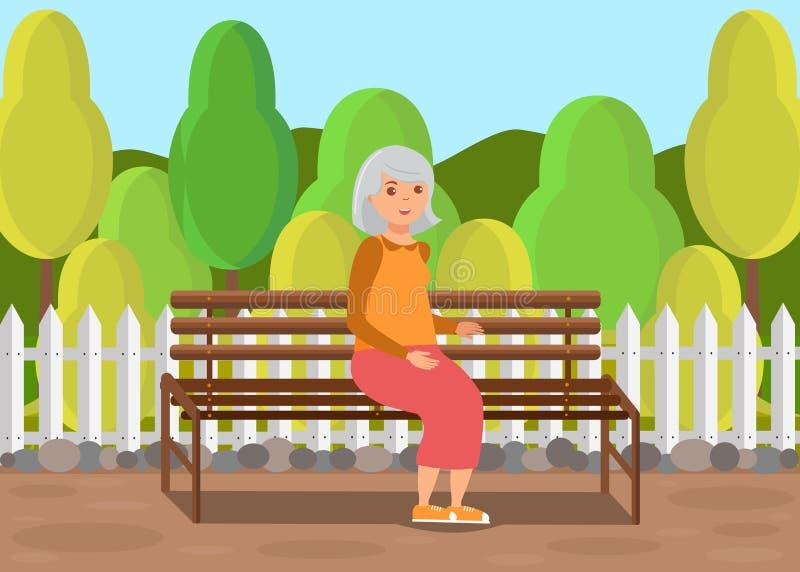 Señora mayor Sitting en el ejemplo plano del banco stock de ilustración