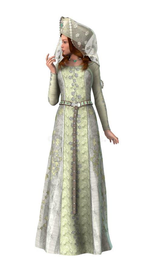 Señora medieval ilustración del vector