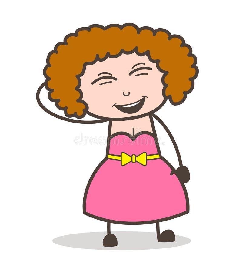 Señora moderna joven Laughing Face Vector de la historieta libre illustration