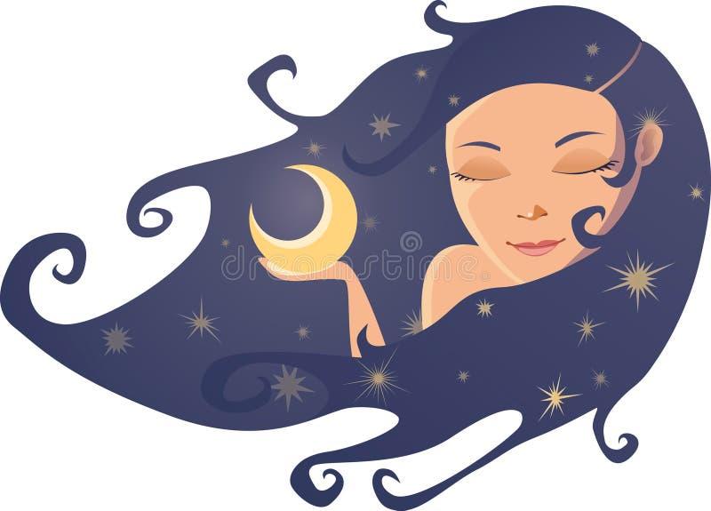 Señora Night ilustración del vector