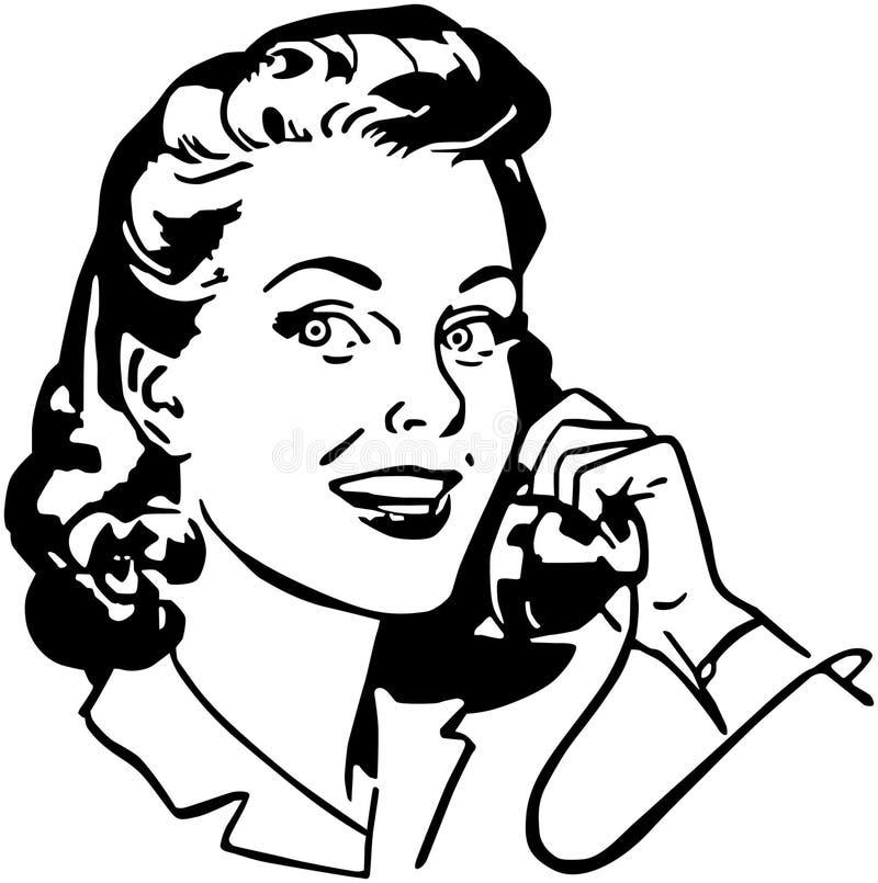 Señora On The Phone ilustración del vector