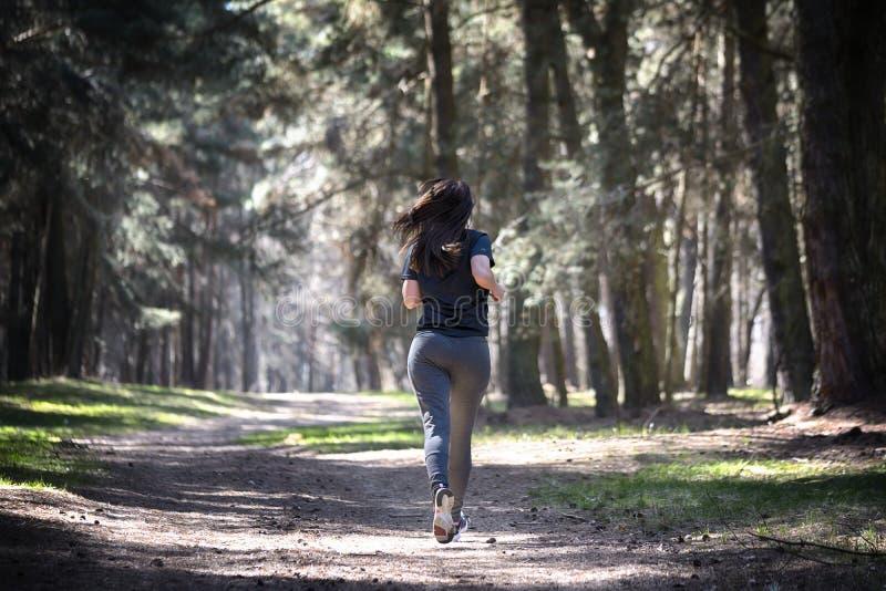 Señora que corre en la mujer corriente del bosque fotos de archivo
