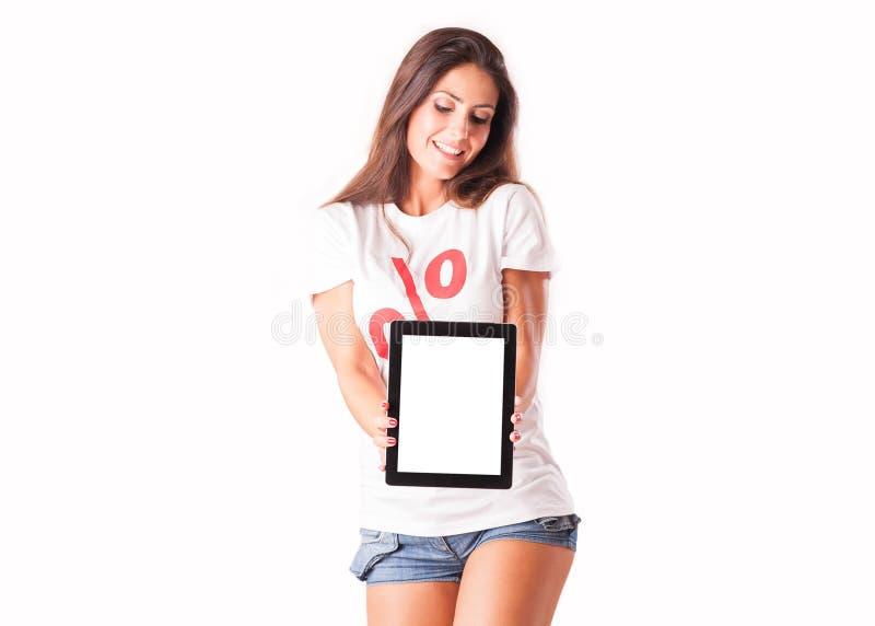 Señora que sostiene una tableta imagenes de archivo