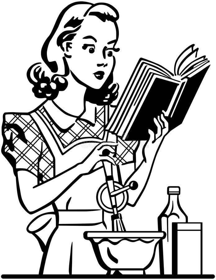 Señora retra Cook ilustración del vector