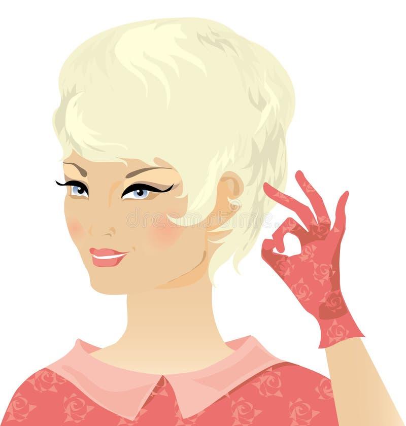 Señora retra rubia sonriente stock de ilustración