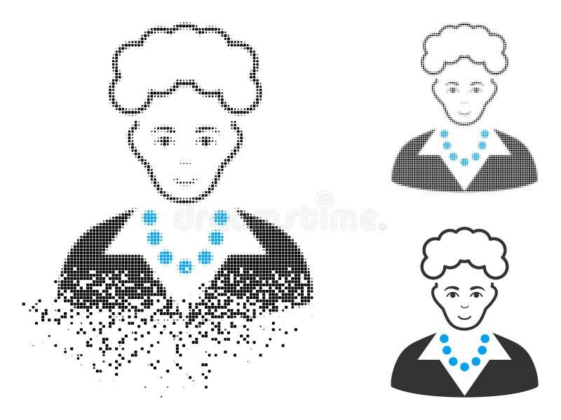 Señora rubia de semitono Icon de Pixelated del polvo con la cara libre illustration