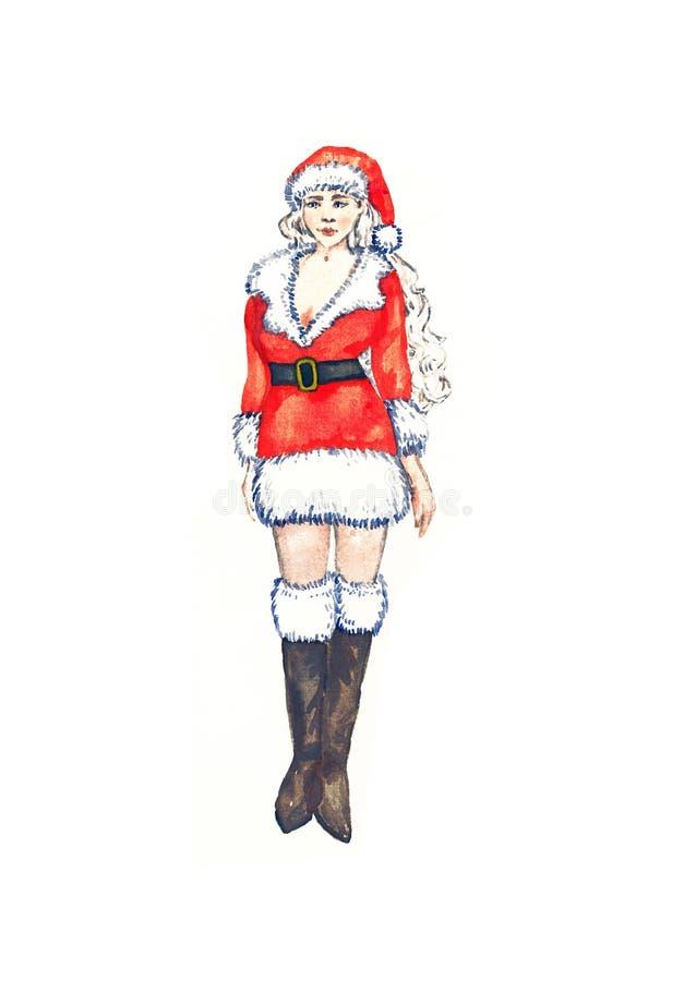 señora Santa Claus joven y hermosa, aislado en la acuarela blanca ilustración del vector