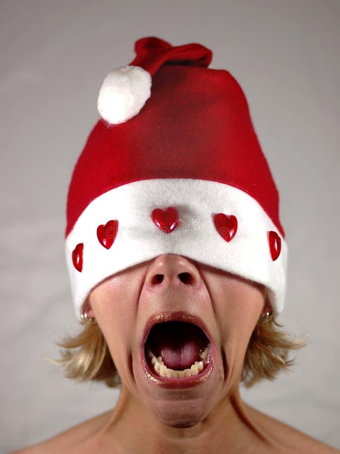 Señora Santa que grita imagen de archivo libre de regalías