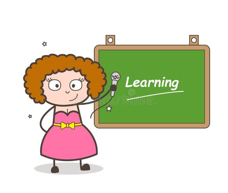 Señora Singer con el aprendizaje del ejemplo del vector del tablero ilustración del vector