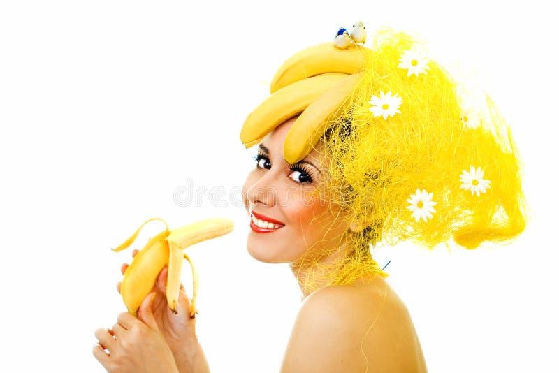Señora sonriente del plátano foto de archivo